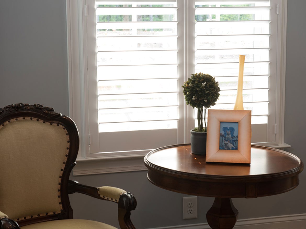 Chair Next To Plantation Shutters Ronica S Custom Creations