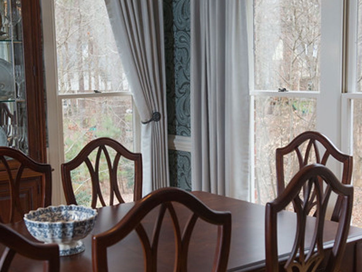 Dining Room With Panel Drapes