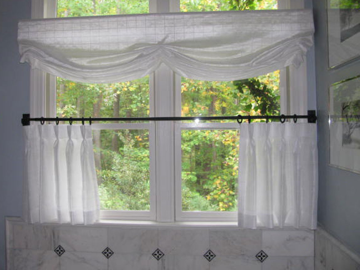 White Sheer Cafe Curtains With Sheer Valance On A Transom Window In The  Bathroom. Raleigh