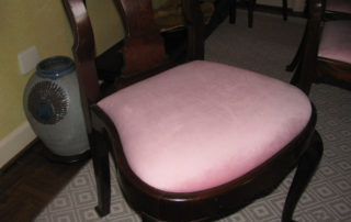 Pink velvet cushion on a Raleigh dining room chair